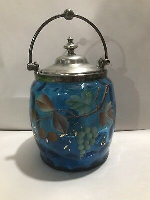 Vintage Antique Victorian Blue Glass Biscuit Jar with Lid
