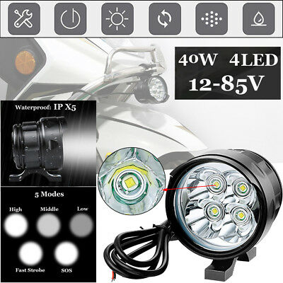 40W 4LED 6500K 12~85V Motorcycle Boat Spot Driving Headlight Fog Lamp Work Light