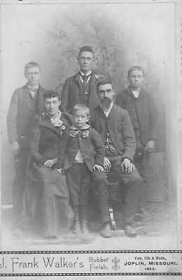 Vintage 1893 Family portrait with photographer's ad on back