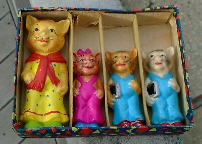 Antique Boxed Set of 4 Painted Bisque Cat Figurines-Made in Japan-Nice-LOOK!*