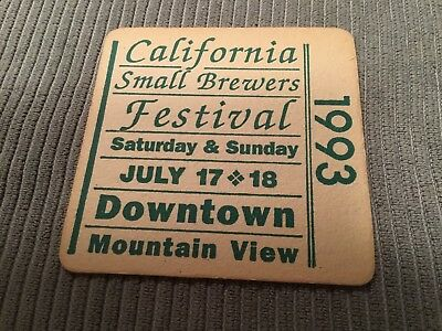 Vintage Beer Coaster, California Small Brewers Festival, 1993