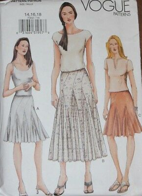 Vogue Pattern 7302 semi-fitted flared skirt with inset godets, 3 lengths ~ 14-18