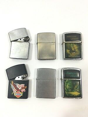 Lot of 6 Vintage Zippo & Non Branded Lighters