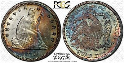 1876 25c PCGS AU58 Liberty Seated Quarter with Monster Rainbow Toning - TrueView