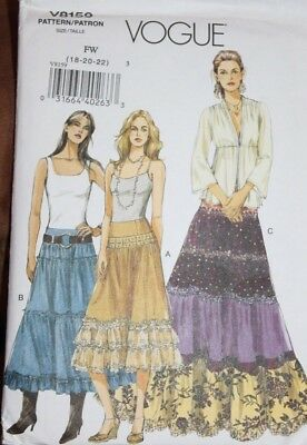 Vogue Pattern 8159 Boho style tiered skirt, variety of yokes & lengths, 18-22