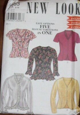 New Look Pattern 6883 fitted button-up blouse top, w/ seaming & ruffles, 8-18