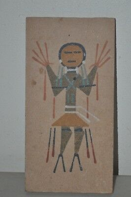 Authentic Navajo Sand Painting Healing God By Yazzie Signed