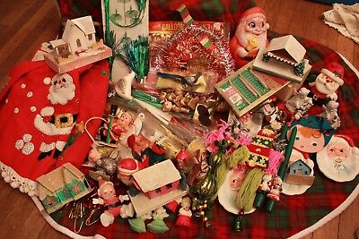 Lot of Vintage Christmas Putz Gurley NOS Garland Sequins Tree Skirt Roly Poly