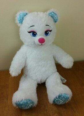 Build A Bear White Sparkle Elsa Frozen Snowflake Stuffed Animal Plush Softy