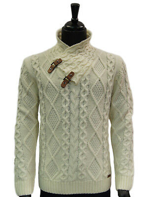 Mens Cream Leather Toggle Button High Collar Cable Knit Bulky Pullover Sweater