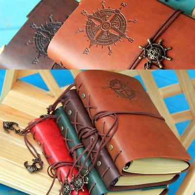 Retro Vintage PU Leather Bound Blank Page Notebook Note Notepad Journal Diary BT