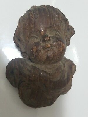 Vintage Wood Wooden Carved Carving Angel Head Putti