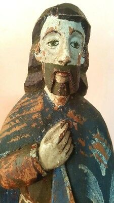 Antique St Roch San Rocco Spanish Colonial Hand Painted & Carved Wood Santos