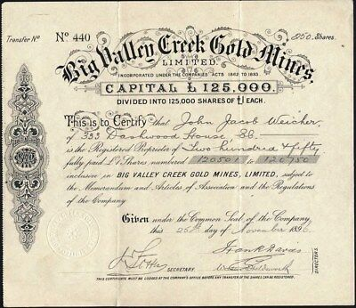 Big Valley Creek Gold Mines Ltd., 1896 Share Certificate