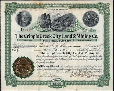 Cripple Creek City Land & Mining Co, 1899, Uncancelled Stock Certificate