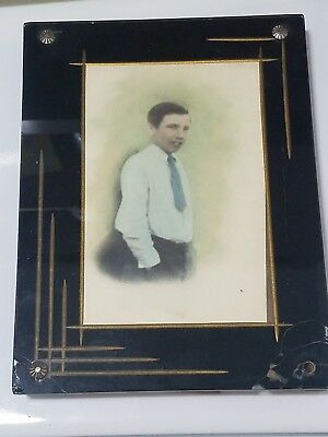 Antique Vintage Art Deco Reverse Painted Picture Frame With Photo
