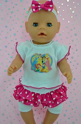 "Play n Wear Doll Clothes To Fit 17"" Baby Born SKIRT/BUILT-IN TIGHTS~TOP~HEADBAND"