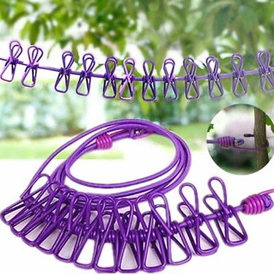 Windproof Clothesline Hanger Drying Rack Clothes Hanging Rope Line with 12 Clip