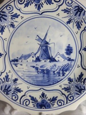 VINTAGE DELFT Holland BLUE Windmill HANDPAINTED PLATE KLM ROYAL Dutch Airlines
