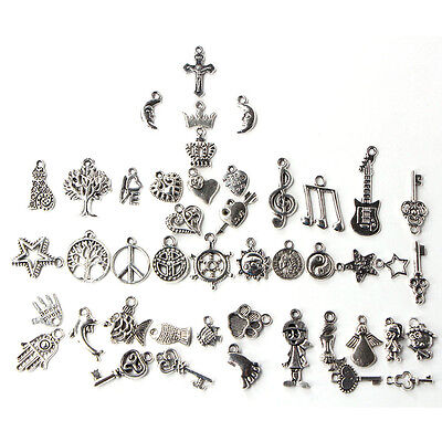 Wholesale 100pcs Bulk Lots Tibetan Silver Mix Charm Pendants Jewelry DIY New HK