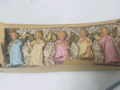 Set Of 5 Antique Victorian Angel Figurines