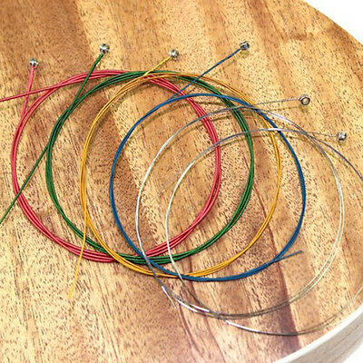 Perfect 1 Set 6pcs Rainbow Colorful Color Steel Strings for Acoustic Guitar FBHK