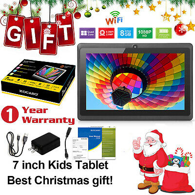 "KOCASO Quad Core 7"" Inch 8GB Kids Tablet PC Android 4.4 Dual Camera HD WiFi BLK"