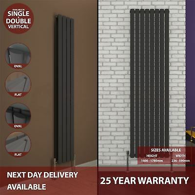 Radiator Designer Single Double Vertical Central Heating Oval Flat Modern Grey