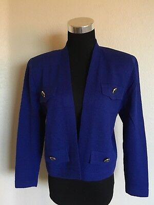 St.John By Marie Gray Blue Santana Knit Open Front Cropped Jacket Size 6 Medium