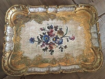 Italian Florentine wooden tray 11 X 8.25 inches