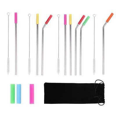 Reusable Stainless Steel Metal Drinking Straw Silicone Cover Straw Bag Kit Tool