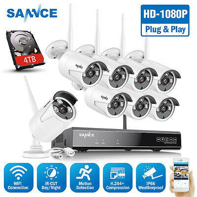 SANNCE 1TB 1080P HDMI 4CH NVR Outdoor CCTV Camera Wifi Wireless Security System