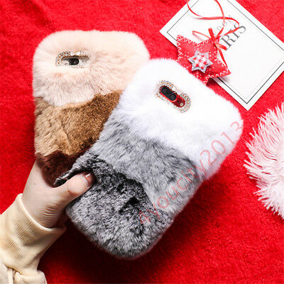 Winter Warm Bling Glitter Fluffy Rabbit Fur Plush Cell Phone Case Cover Skin
