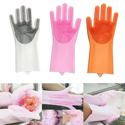 1Pair Magic Silicone Rubber Dish Washing Gloves 2in1 Scrubber Cleaning Scrubbing