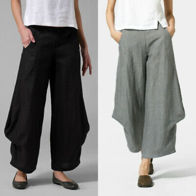 Women Casual Pull-On Wide Leg Pants Cropped Capris Culottes High Waist Trousers