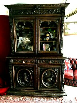 Antique Highly Carved Oak Court Cupboard Bookcase 18th Century Oak