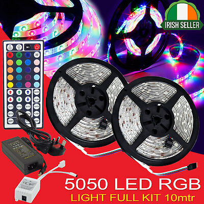 10M 2x5M 5050 RGB 30LEDs LED Strip Lights Lamp 44 Key Remote IR Controller