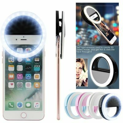 Selfie LED Light Ring Flash Fill Clip Camera For Phone Tablet iPhone Samsung H45