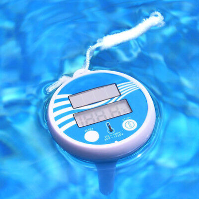 White Solar Powered Digital Thermometer Wireless Pond Pool Floating LCD Display