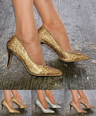 Ladies Women Diamante Crystal Pointed Toe High Heels Court Party Shoes Size 3-8
