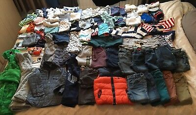 Mixed joblot/bundle baby boys jeans jumpers tops clothes x 68 items s12-18months
