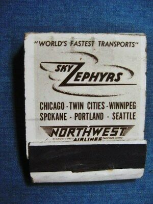 Sky Zephyrs Northwest Airlines Airplane Matchbook Cover