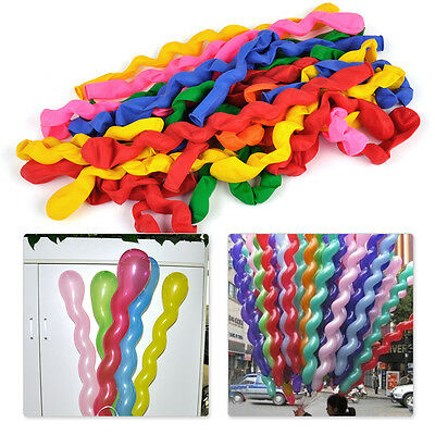 100pcs Mixed Colorful Spiral Twist Latex Balloons Wedding Birthday Party Decor