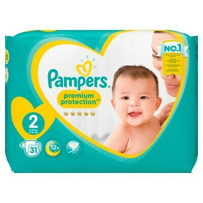 Pampers Premium Protection New Baby Gr.2 Mini 4-8kg Tragepack, 31 Stück Windeln