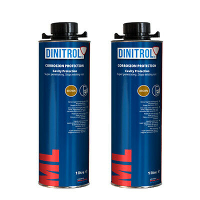 2 x DINITROL ML3125 RUST PROOFING CAVITY WAX 1LITRE CAN BOX SECTION DOOR CHASSIS