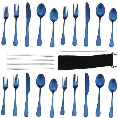20pcs Silverware Set Top Stainless Steel Matte Blue Spoon Fork Knife Cutlery