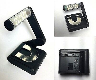Reading Book Light  Bright Variable Lamp Fexible Folding Travel 12 LED Clip On.