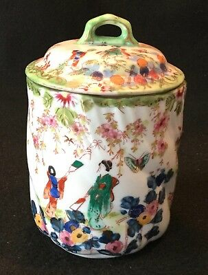 19th c. AS IS Kutani Hand Painted Japanese Eggshell Porcelain Biscuit Barrel