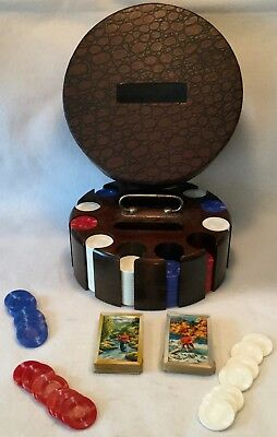 Vintage Mid-Century Lazy Susan Carousel Poker & Pinochle Caddy - EXCELLENT!