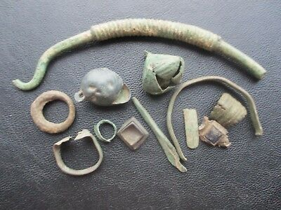Ancient bronze. Details of the jewelry: bracelet, hryvnia, ring and ...ORIGINAL!